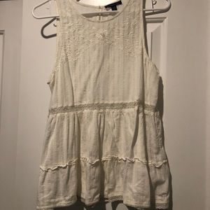 American Eagle Cream Embroidered Tank